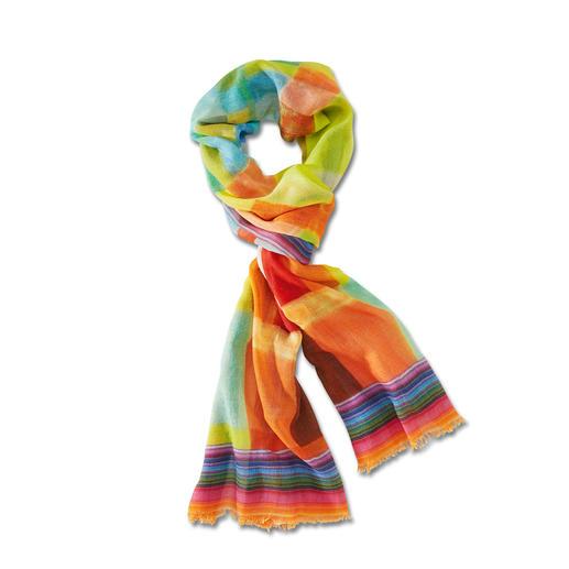 Écharpe multicolore pour toute l'année Ni trop fine. Ni trop chaude. Aux couleurs convenant à toutes les occasions. En laine avec de la soie.