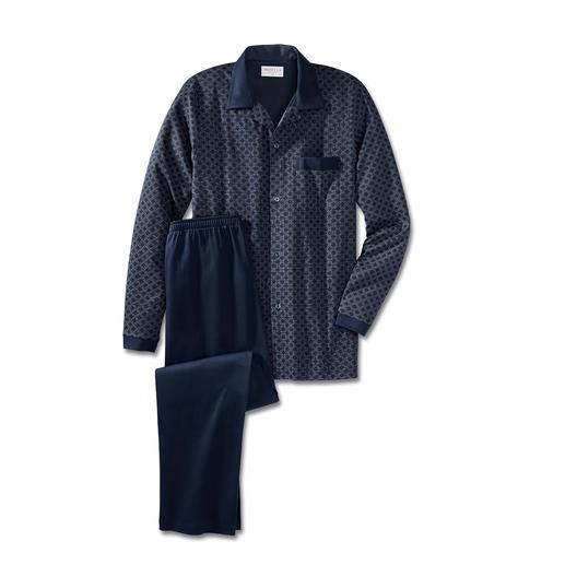 Pyjama gentleman NOVILA, Bleu Le pyjama confortable pour gentleman. Parfait, même en cas de visite imprévue. En doux jersey de coton.