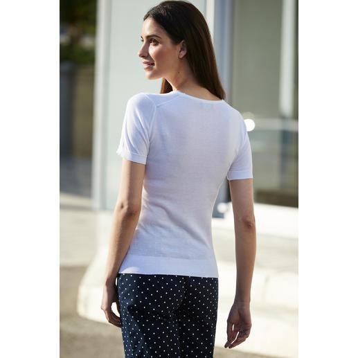 John Smedley 30-Gauge-T-Shirt, Femmes Peu répandue et facile à associer : la variante tricotée du T-shirt classique basique.