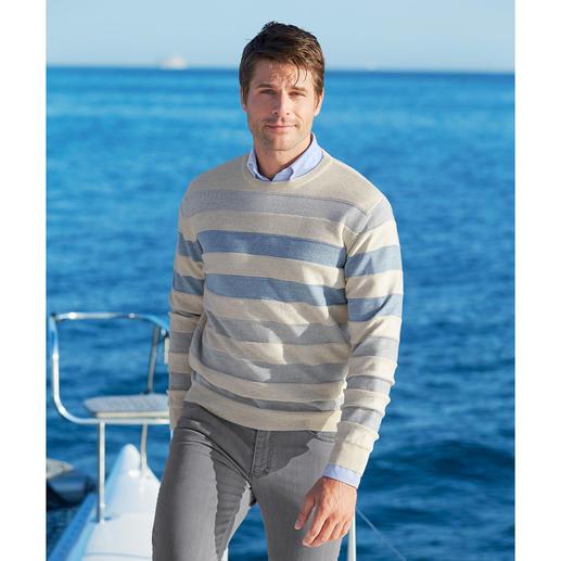 Pull-over à rayures Stereo-System® Le pull-over à rayures en fine laine mérinos qui ne gratte pas.