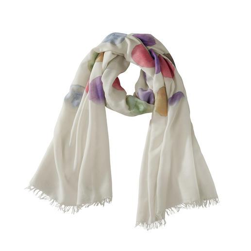 Foulard à pois Ancini «Aquarelle» 6 ravissantes teintes d'aquarelle. Etoffe opulente, durable. Un foulard estival raffiné, facile à associer.