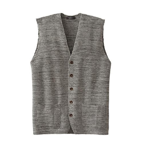 Gilet en laine moulinée Phil Petter, Gris chiné Une pièce unique qui se démarque des nombreux gilets en tricot à la mode.