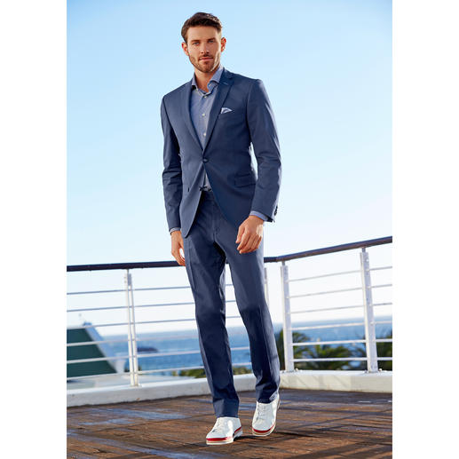 Costume en coton Carl Gross « Ceramica », Bleu Le costume idéal pour les affaires et les voyages : drap de coton estival très peu froissable.
