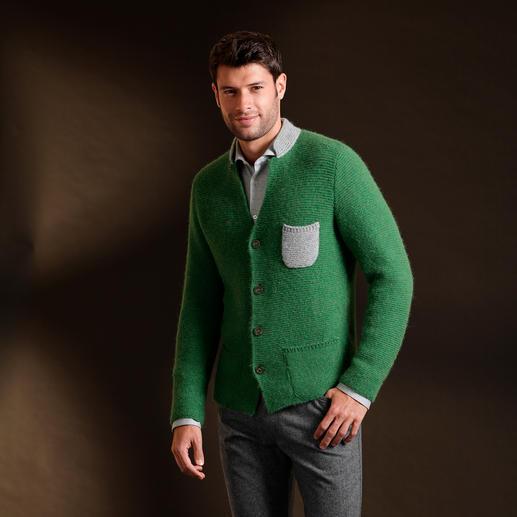 Veste en tricot alpaga royal En alpaga royal précieux. Forme géométrique. Tricot gauche-gauche solide. Couleurs fraîches. Par Clark Ross.