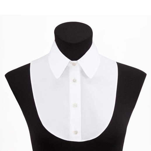 Col de chemise van Laack Parfait sous un pull ajusté : le col de chemise « trompe l'œil » de van Laack.