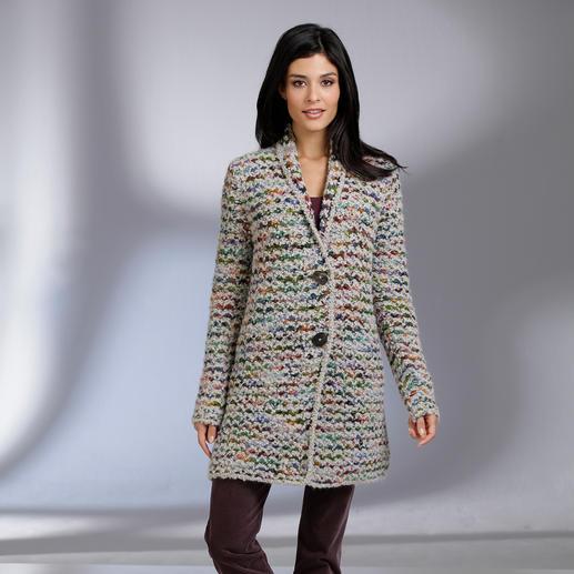 Veste tricotée main Kero Design « Multicolore » Teinté et tricoté à la main : le cardigan multicolore qui va avec tout !