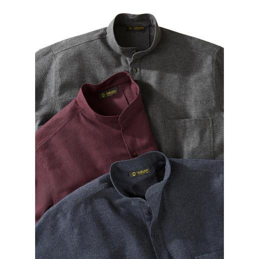 Chemise en flanelle de coton Nehru Typique : le col montant. Nouveau : la flanelle légère.