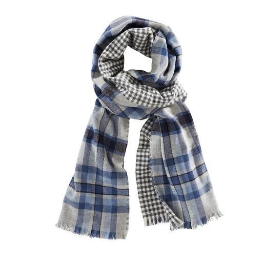 Echarpe double face à carreaux Johnstons, bleu/gris Une belle écharpe double face aux deux motifs classiques.
