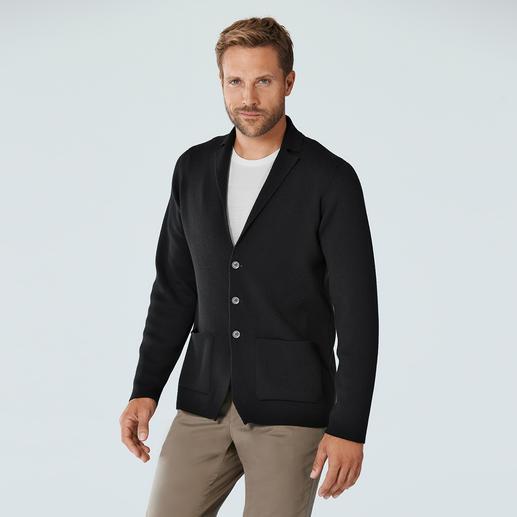 Veste en tricot jauge 24 John Smedley Un modèle beaucoup plus luxueux et raffiné que la plupart des vestons en tricot. Fabriqué en Angleterre.