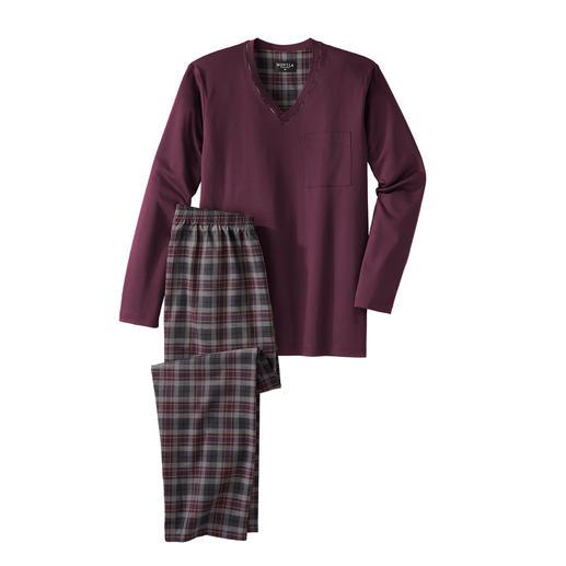 Pyjama gentleman Novila, bordeaux/gris Confortable, aéré et raffiné. Haut confortable en jersey + pantalon en twill léger.