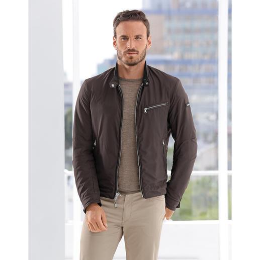 Veste réversible en cuir agneau nappa Hackett Veste de motard ou blouson sportif ? Les deux ! Luxueuse veste réversible. Par Hackett, Londres.