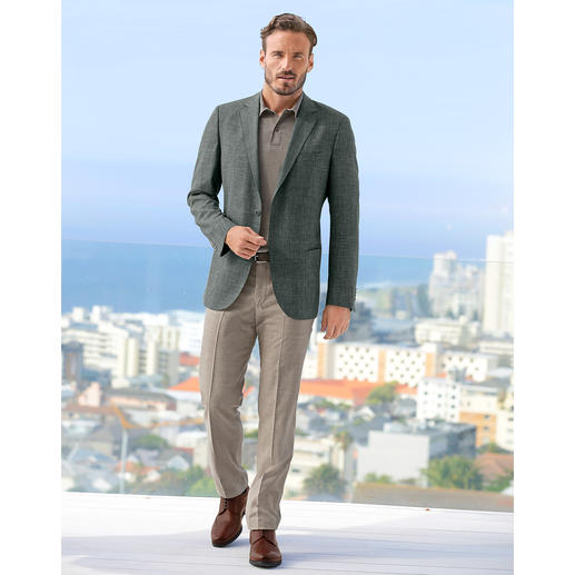 Pantalon en drap de laine Hoal « Tropical » Adapté au monde des affaires, estival, moderne : le pantalon en drap de soie et de lin.