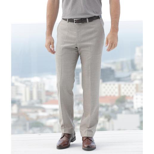 Pantalon en drap de laine Hoal « Tropical » Adapté au mondes des affaires, estival, moderne : le pantalon en drap de soie et de lin.