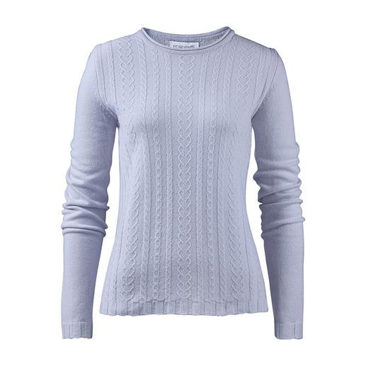 Pull-over texturé en cachemire Eribé - Le pull-over torsadé à porter tout au long de l'année : fil cachemire finement tissé et motif torsadé plat.