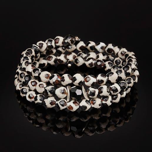 Bracelet en agate du Tibet langani Le bracelet de pierres précieuses en agate du Tibet : chaque perle est unique.