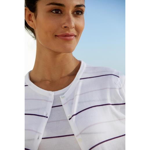 Twin-set à larges rayures Smedley, parme/violet Le luxe à l'état pur : en précieux coton Sea Island. Couleurs actuelles, rayures tendance.