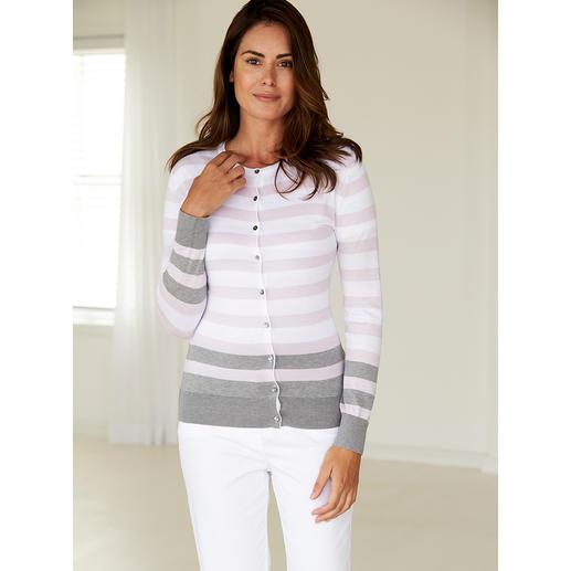 Twin-set à larges rayures Smedley, rose/gris Le luxe à l'état pur, en précieux coton Sea Island. Le twin-set en tricot fin, par John Smedley/England.
