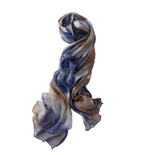 Foulard en soie Ancini Plangi Pure soie. Teinture soignée à la main. Chaque foulard est une pièce unique.