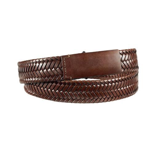 Ceinture en cuir tressé La preuve qu'une ceinture en cuir tressé peut également être élégante. En cuir veau doux finement tressé.