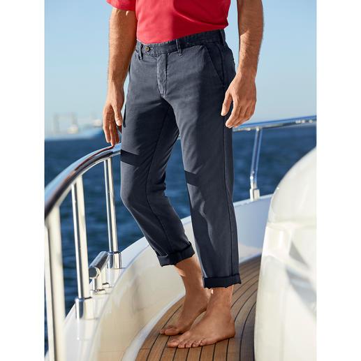 Pantalon homme en Cool Wool Myths Look vintage décontracté en laine vierge italienne. Cool Wool, tissé par Marzotto – en exclusivité pour Myths.