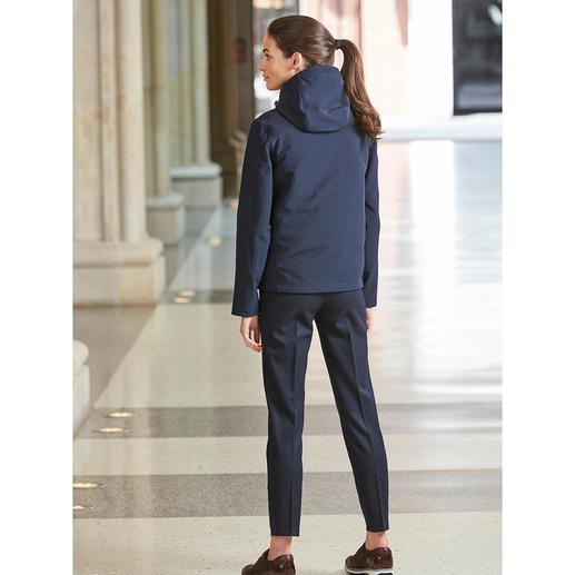 Veste femme tous temps 3-en-1 Softshell coupe-vent et imperméable, avec gilet Primaloft® bien chaud, à dézipper. Par Aigle, France.