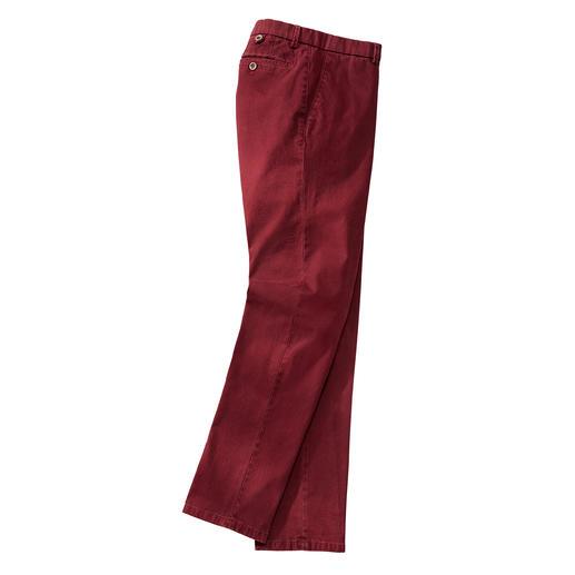 Pantalon en flanelle panama Hiltl, Carmin Armure toile rare, avec finition diamantée. Par le spécialiste du pantalon Hiltl, Allemagne.