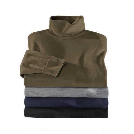 Pull à col roulé John Smedley - Le pull en fine laine de mérinos pèse moins de 300 grammes. Et trouve sa place dans toute serviette en cuir.