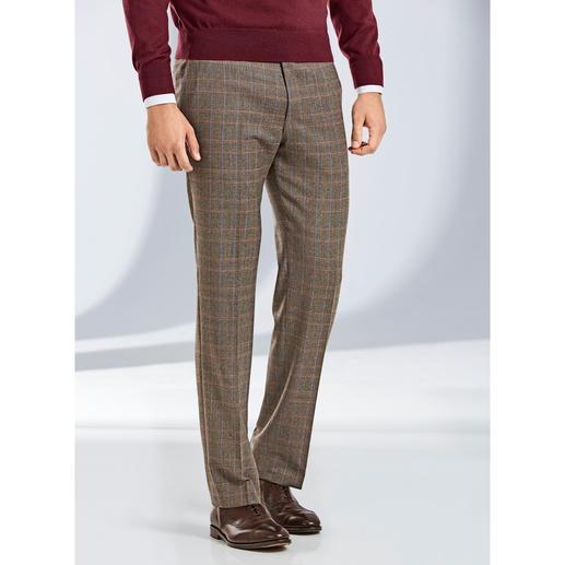 Pantalon Prince-de-Galles Super-130 Hoal Drap de laine du tisserand italien de luxe Marzotto. Confection par le spécialiste allemand du pantalon Hoal.