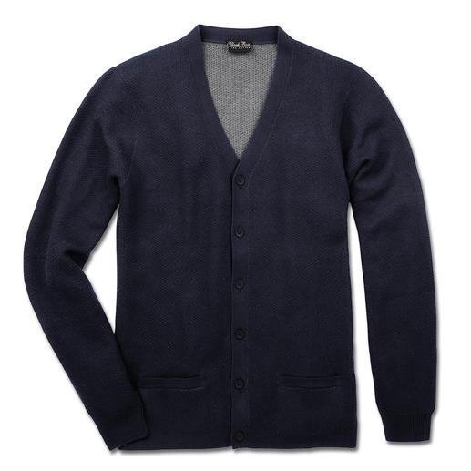 Cardigan double-face Pima Cotton L'élégante exception parmi les nombreux cardigans en coton. Coton Pima péruvien cueilli à la main.