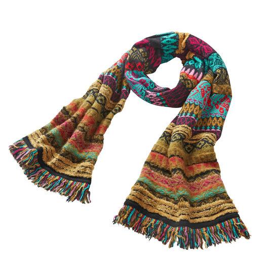 Écharpe jacquard Ivko Couleurs somptueuses et motifs vivants : découvrez l'art du tricot version serbe, d'une rare beauté.