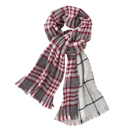 Écharpe double face à carreaux Johnstons, rouge/gris Une belle écharpe double face. Deux motifs classiques. Par Johnstons of Elgin, Écosse.
