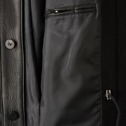 Veste en cuir de chèvre Hollington La noble veste en doux cuir de chèvre avec le col montant Nehru typique et de nombreuses poches pratiques.