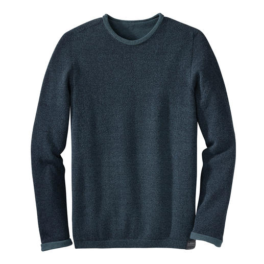 Pull-over réversible sans couture Seldom Uni ou chiné, laine mérinos ou coton Giza. Deux looks contemporains ainsi qu'un confort inégalé.