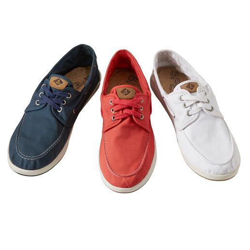Chaussure bateau en toile Sperry - Série limitée dans le monde entier, rare en Europe : la chaussure tricotée main, par Nina Originals, New York.