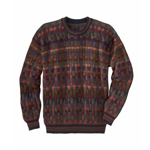 Le pull-over en alpaga « Mosaiko » Un chef-d'œuvre venu des Andes. En 100 % alpaga. Réalisé à la main, avec 28 (!) coloris.