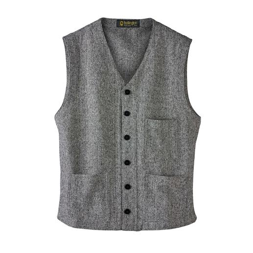 Gilet en tweed de soie Hollington Conception légendaire. Tweed de soie luxueux. La version estivale du vrai gilet Hollington.