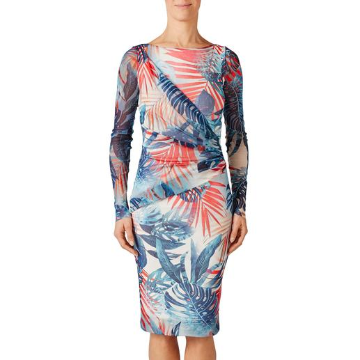 Robe spéciale sac à main « Blue Leaves » Fuzzi La robe de créateur qui se glisse dans votre sac à main. À porter en toute occasion. Par Fuzzi, Italie.