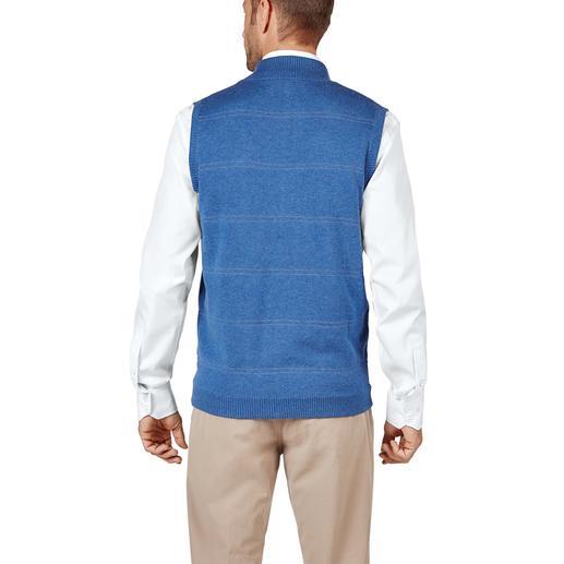 Gilet réversible en tricot Alan Paine Côté pile détente – côté face classique. Coupe moderne, cintrée, qui ne serre pas.