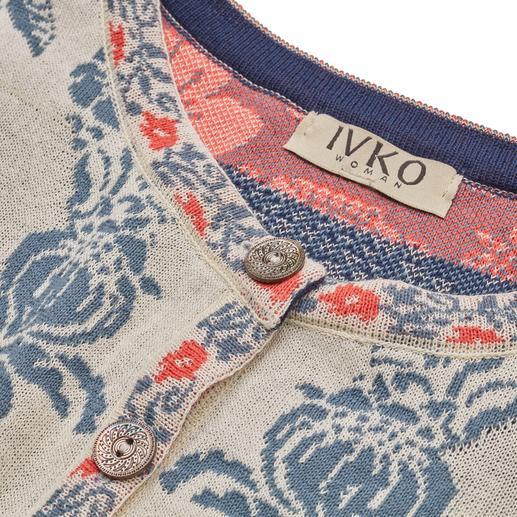 Veste jacquard « Ornements » IVKO Tricot jacquard aux couleurs multiples. Une création rare, fabriquée en Serbie. Par IVKO.