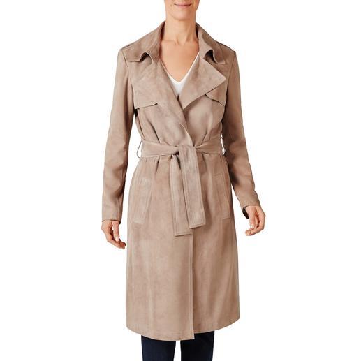 Trenchcoat en chèvre velours Exceptionnellement chic : le trench-coat indémodable et tendance, non rembourré.