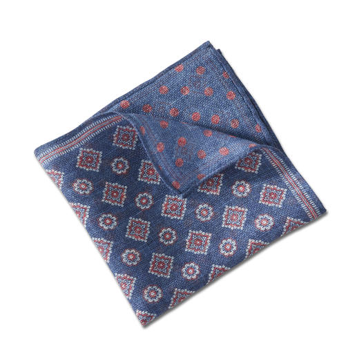 Pochette de costume double-imprimé Pellens & Loick, Bleu/Rouge La pochette à double impression de la marque allemande traditionnelle Pellens & Loick de 1870.