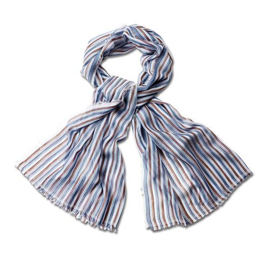 Foulard rayé 50 g alpi Tissu italien délicat. Noble chatoiement. Choix de couleurs harmonieux. Par alpi.