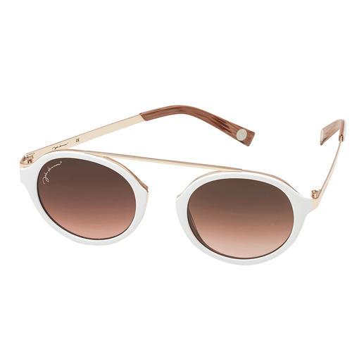 Les élégantes lunettes de soleil, à la couleur blanche top tendance. Verres ronds tendance. Forme rétro sans pont de nez. Prix abordable. Les élégantes lunettes de soleil.