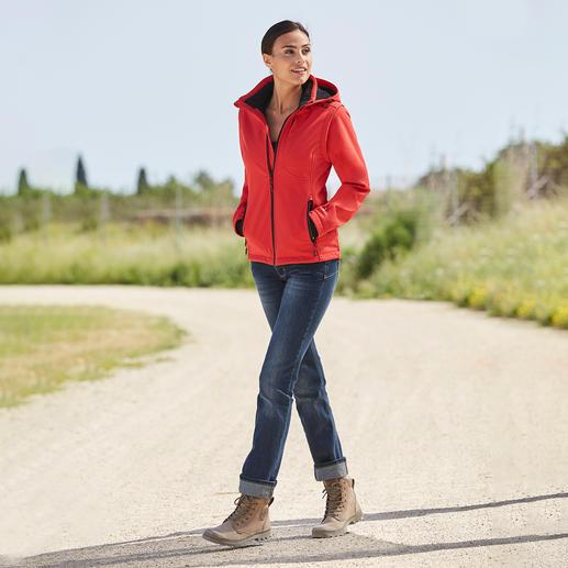 Veste en softshell, femme, Rouge/Noir Élancée, légère et pourtant bien chaude. Veste en softshell, avec WindProtect® de CMP.