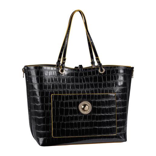 Shopper Jeans 2 en 1 Versace Deux sacs de créateurs pour le prix d'un. Shopper à l'aspect crocodile avec sac à main intégré. Versace Jeans.