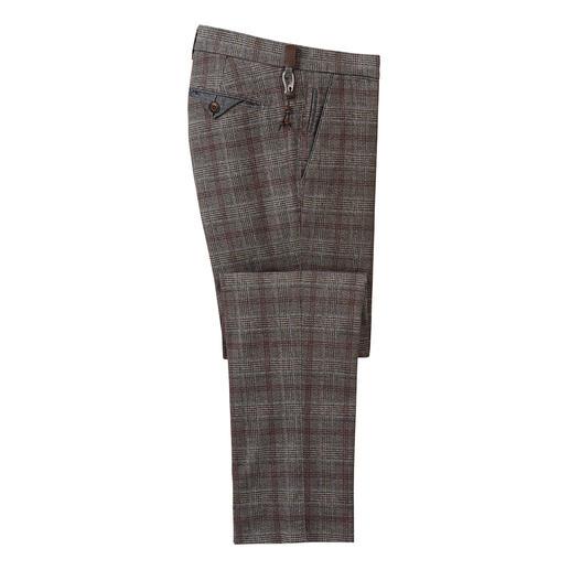 Pantalon à carreaux Wool-Look Brax Aspect laine vierge soigné et correct pour le bureau – mais fait en flanelle de coton douce qui ne gratte pas.