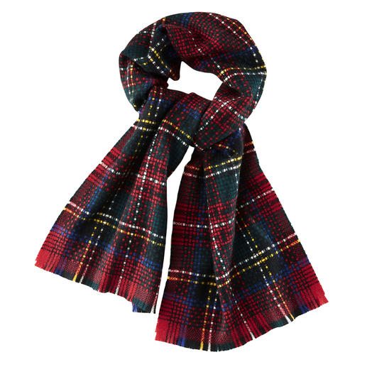 Châle cachemire Royal-Stewart Johnstons Un classique. Et pourtant, top tendance : le traditionnel tartan Royal Stewart. Par Johnstons of Elgin.