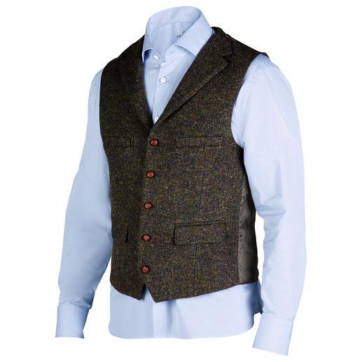 Veste ou Gilet en tweed  Harris de Carl Gross Le tweed Harris original des Hébrides extérieures, mais bien plus fin et léger que la normale. Par Carl Gross.