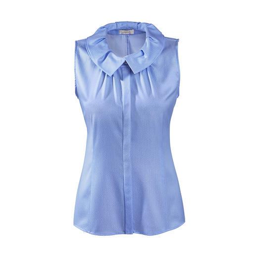 Blouse van Laack Le col décoratif de van Laack est aujourd'hui top tendance. L'élégante blouse en coton mercerisé.