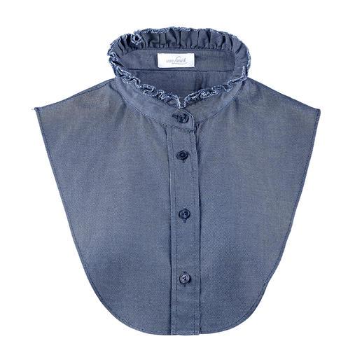 Col de chemise van Laack Tissu jean décontracté. Élégant effet chemisier, sans tissu superflu qui déforme ou vous grossit.